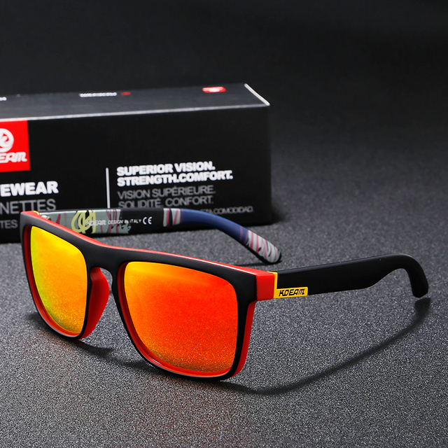 Lunettes de soleil polarisées KDEAM   Nouveau, lunettes de soleil pour hommes, lunettes de Sport carrées, femmes UV gafas de sol, charnière métallique UV400 KD156