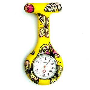 New Silicon Butterfly Pattern Fob Pocket Watch Shellhard Portable Round Tunic Batteries Brooch Analog Quartz Medical Nurse Watch