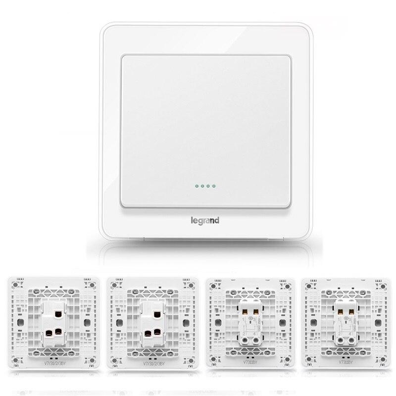 Haute qualité 1 Gang 4 voies interrupteur mural Kits cristal blanc 86 type interrupteur de lumière, y compris interrupteur intermédiaire Double interrupteur de commande