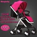 Envío Gratis Premium Cochecitos de Bebé Cochecito de Bebé Plegable Portátil Ultra-Ligero Carro Infantil Elevadas Sentarse Multi-función