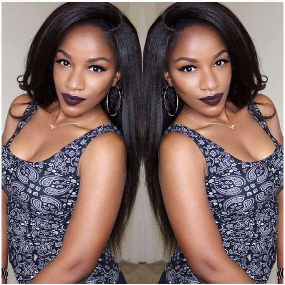 Isabel 7A Grade Yaki Straight Full Lace Human Hair Wigs Glueless Full Lace Wig For Black Women Kinky Straight Lace Front Wig
