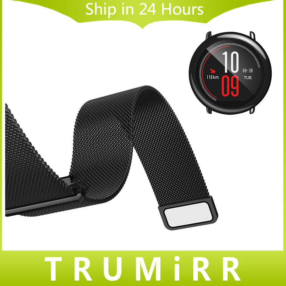 22mm Milanese Loop Strap + Magnetic Buckle for Amazfit Huami Xiaomi Smart Watch Band Stainless Steel Quick Release Wrist Belt crested milanese loop strap metal frame for fitbit blaze stainless steel watch band magnetic lock bracelet wristwatch bracelet