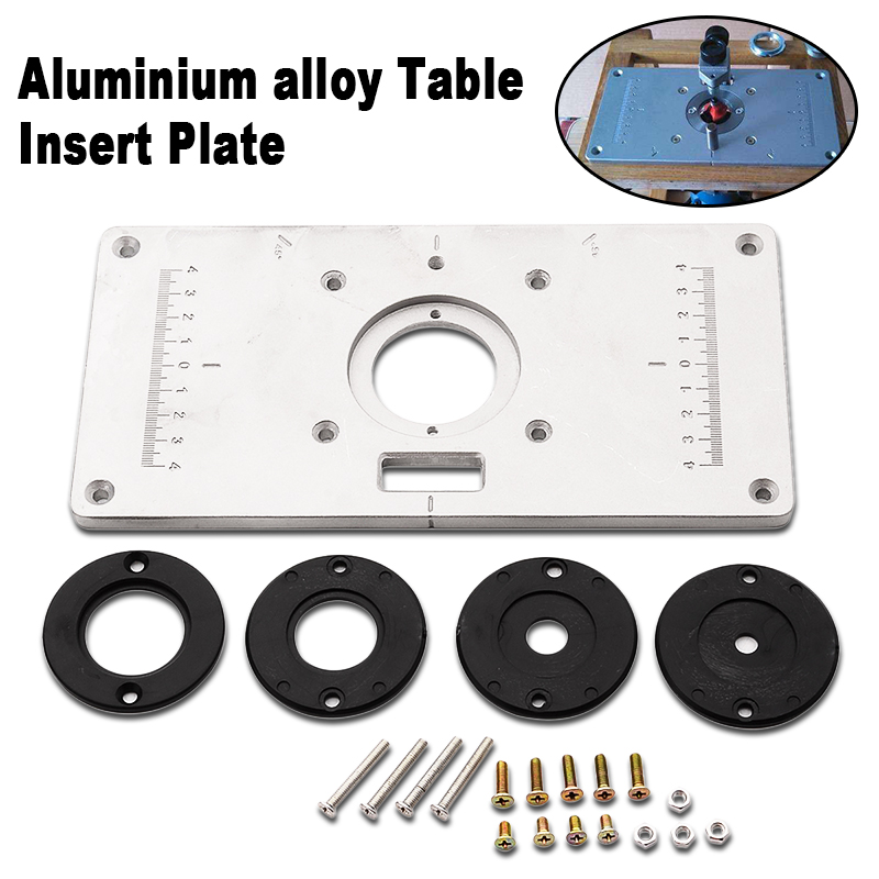 2017 Mayitr Aluminum Alloy Router Table Insert Plate With 4pcs Router Insert Rings Wood Router Tools For Woodworking Sliver DIY new woodworking diy tools heavy duty router lift with aluminium router insert plate jf1168