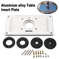 2017 Mayitr Aluminum Alloy Router Table Insert Plate With 4pcs Router Insert Rings Wood Router Tools For Woodworking Sliver DIY