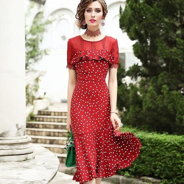 2019 新しい高品質夏フリル女性ヴィンテージプリントシフォンドレス赤プラスサイズ半袖ロングマーメイドパーティードレス