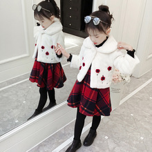 Anlencool Girls Skirt Set 2019 Winter Korean Children's Two-Piece Fur Jacket + Plaid Skirt 3-12 years children girls clothing