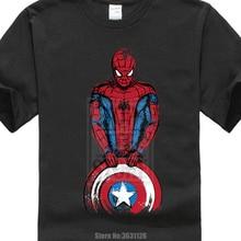 Camiseta de algodón The Spider Is Coming Captain Spiderman Camiseta de Funny Marvel Avengers Design Men's High Quality