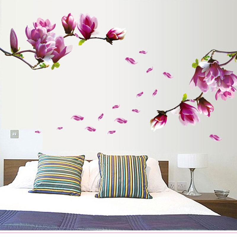 Aliexpress.com : Buy Magnolia Flower Wall Sticker Hall Wallpaper Floral DIY  Paste Home Decor Bedroom Mural Kids Decals Wallpaper TV Wall Stickers 3D  From ... Part 83