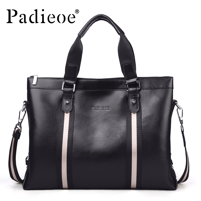 Padieoe Fashion Luxury Men Bag Business Men Briefcase Laptop Handbag Genuine Leather Shoulder Bags