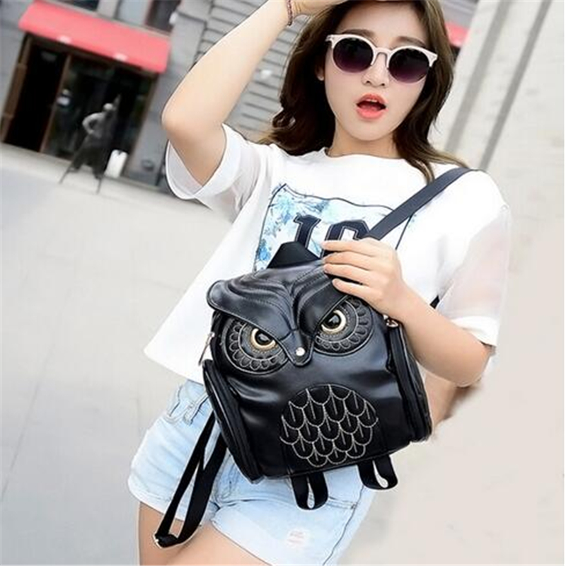 Fashion Women Backpack 2017 Newest Stylish Cool Black PU Leather Owl Backpack Female Hot Sale Women Shoulder Bag School Bags hot sale women s backpack the oil wax of cowhide leather backpack women casual gentlewoman small bags genuine leather school bag