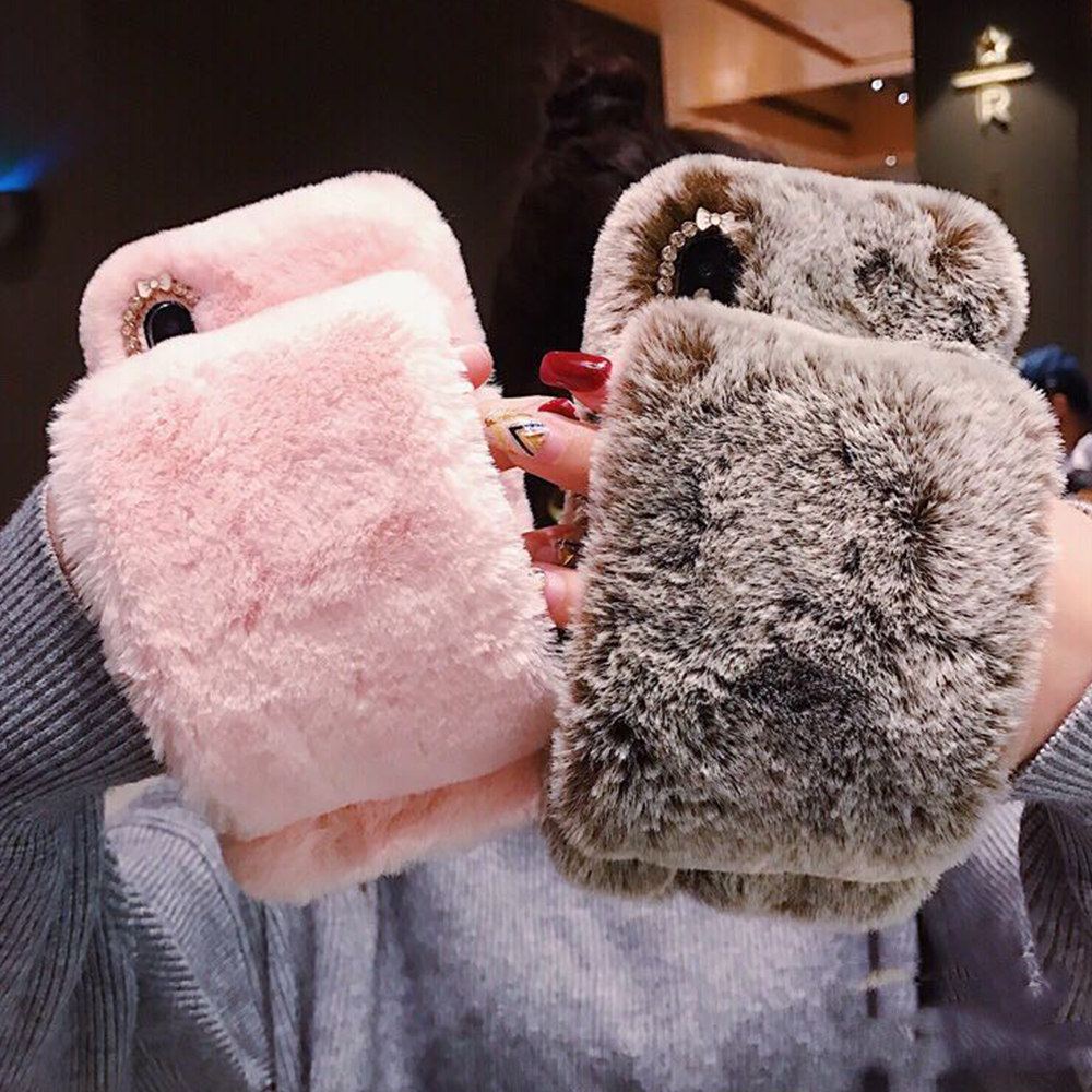 pretty nice dc7fd f6a32 Christmas Warm Fluffy Fur Phone Case For Iphone 5S 6 6S XS MAX Fur Silicon  Cases For Iphone X 8 Iphone 7 7 Plus Fundas