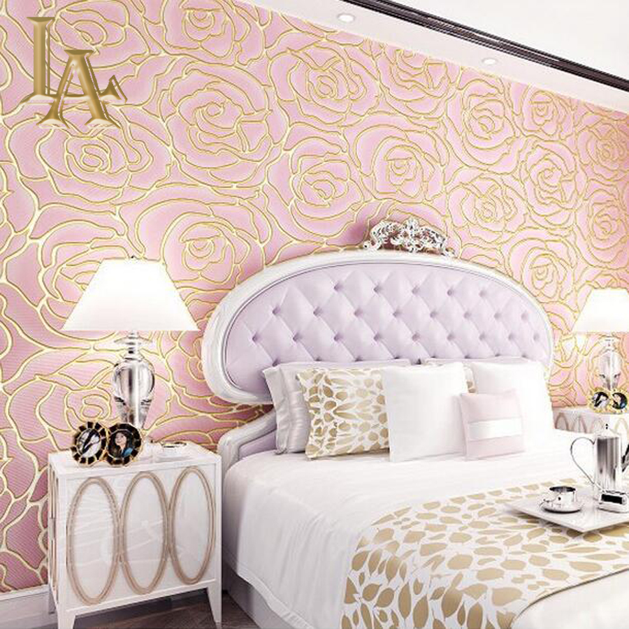 Online buy wholesale rose wall paper from china rose wall for 3d rose wallpaper for bedroom