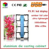 P3.91 Outdoo светодиодный панели, smd 1/16 сканирования, 1000x500 алюминий литья Кабинета полноцветный видео светодиодный экран, светодиодный видеостен