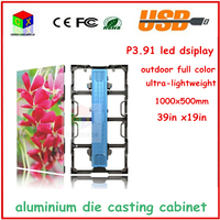P3.91 outdoo LED panel ,SMD 1/16 scan,1000X500 aluminium die casting cabinet full color video led display screen, led video wall