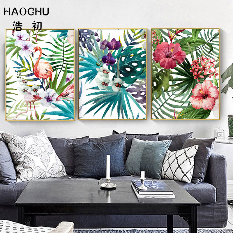 HAOCHU Tropical Forest Flower Leaves Watercolor Plant Flamingo Art Poster Print Picture Wall Decor Canvas Painting Home Decor-in Painting & Calligraphy from Home & Garden