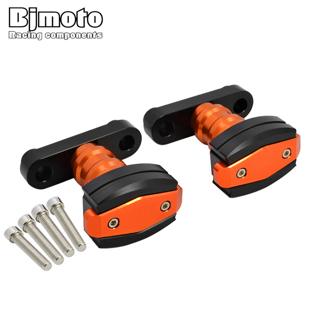 BJMOTO CNC Left and Right Frame Sliders Anti Crash Protector For KTM DUKE 390 2013-2017 DUKE 125 200 All Year for ktm 125 200 duke 12 15 390 duke 13 17 orange motorcycle frame sliders crash protector bobbins falling protection