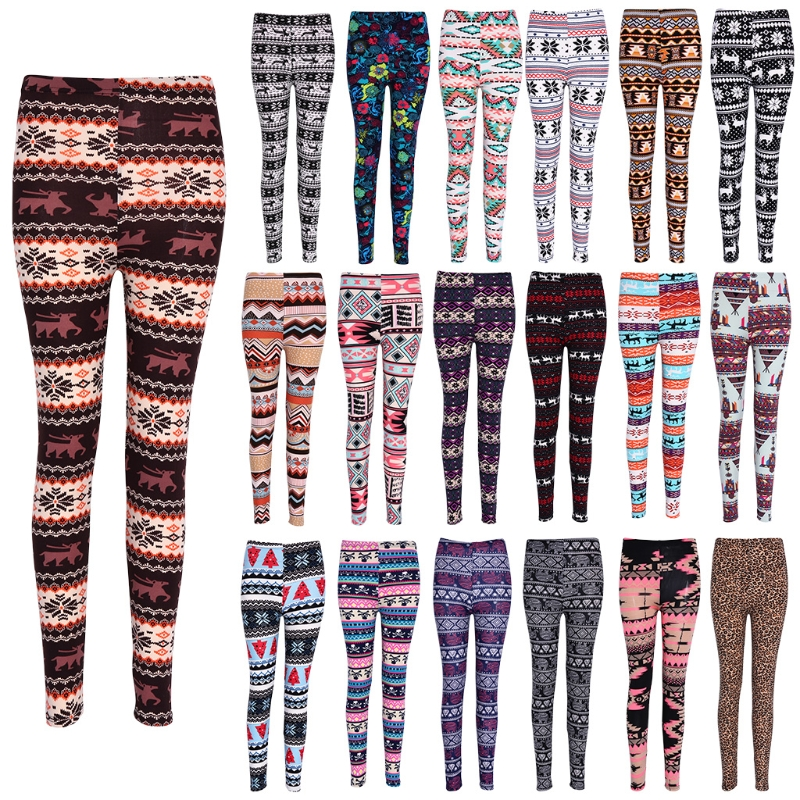 Women Floral Printing Elastic   Leggings   Stretch Pencil Pants Winter Autumn