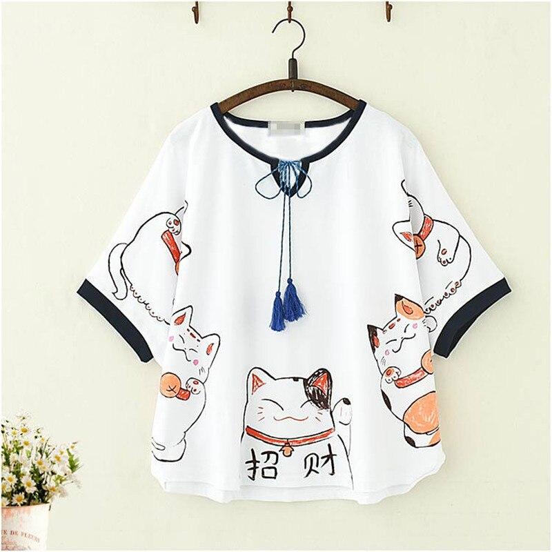 Cool Japan T Shirts Women Anime Harajuku Tshirt Streetwear 2019 Summer Cartoon Cat Print T Shirt Female Kawaii Tops Tee Girl
