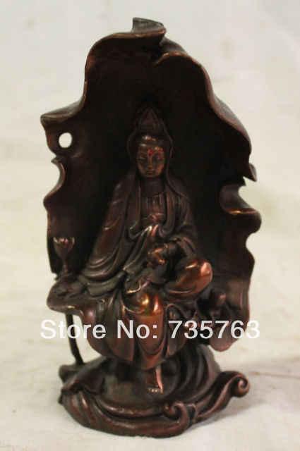 """6/"""" China Buddhism Bronze Gild Kwan-yin Boddhisattva Guan Yin Hold Lotus Statue"""