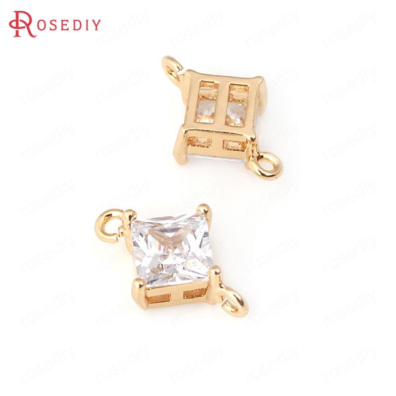 Купить (31965)4 шт 6 мм 8 24k цвета шампанского золото латунь с цирконием