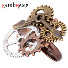 Faitheasy Vintage Steampunk Jewelry Rings Bronze Gear Punk Retro Unique Adjustable Ring For Women Men Unisex Gifts Fashion