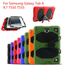 For Samsung GALAXY Tab A 9.7 T550 T551 T555 P550 P555 tablets Heavy Duty Rugged Impact Hybrid Case Kickstand Protective Cover