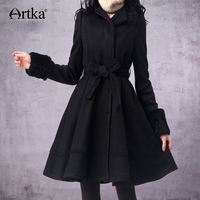 ARTKA Women's Wool Coat Winter 2018 Long Coat With Belt Korean Fur Coat Female Wool Blend Coat Brand Outwear For Women FA10135D
