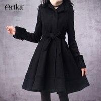 ARTKA Women's Wool Coat Winter 2018 Long Coat With Belt Korean Fur Coat Female Wool Blend Coat Brand Outwear For Women FA10135D