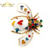 Красивый паве цветной кристалл белый эмалированный Жук Броши золотой тон красочные сердце пятнистые шпильки в виде пчелы брошь насекомое ю...