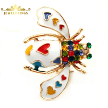 Pretty Pave Colored Crystal White Enameled Beetle Bug Brooches Gold Tone Colorful Heart Spotted Bee Pins Broach Insect Jewelry