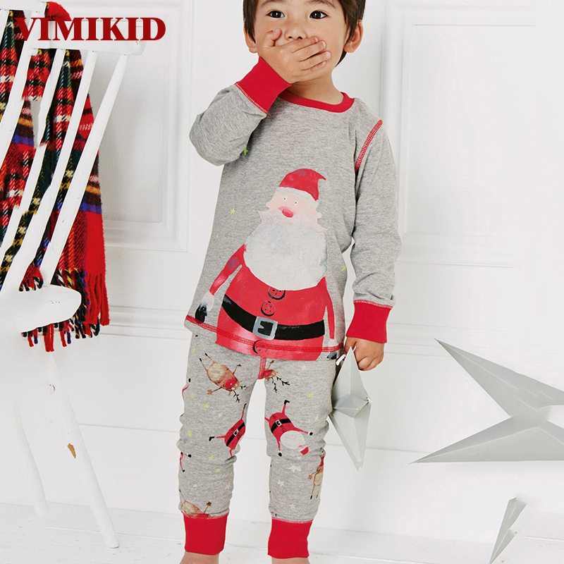 VIMIKID boys clothing set 2017 cotton Santa Claus Christmas long sleeve T-shirt + pants Loungewear suits children sets for girls 2017 new boys clothing set camouflage 3 9t boy sports suits kids clothes suit cotton boys tracksuit teenage costume long sleeve