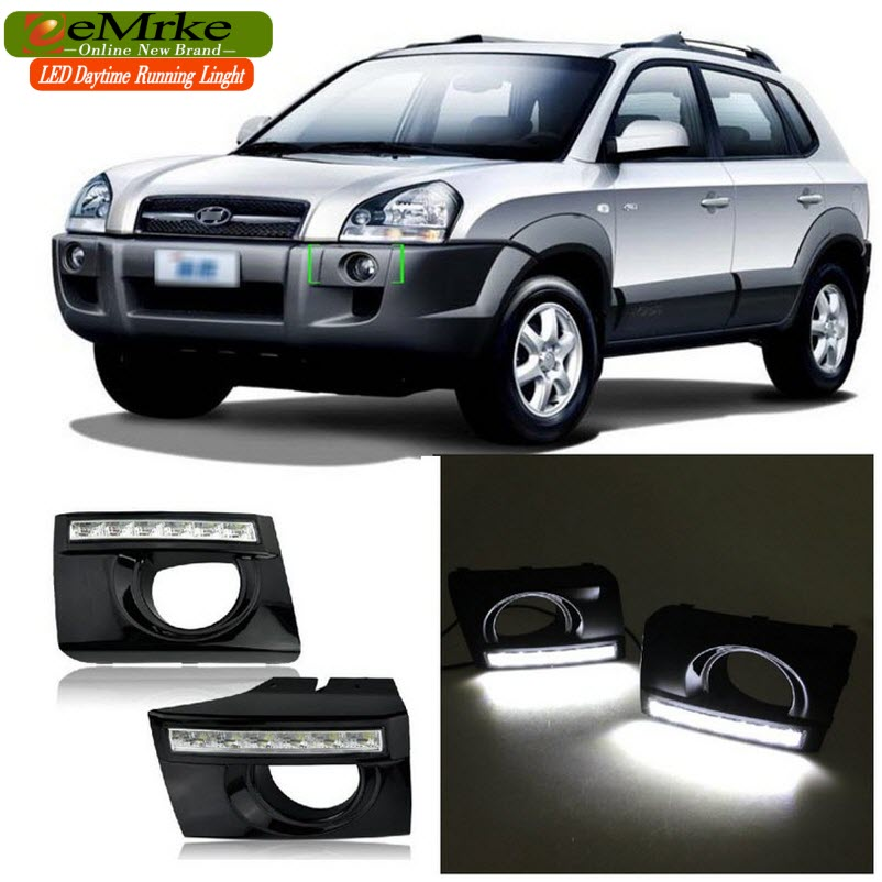eeMrke Car LED DRL For Hyundai JM Tucson 2004-2009 High Power Xenon White Fog Cover Daytime Running Lights Kits  недорого