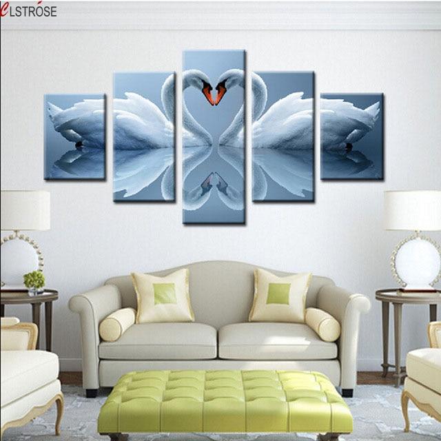 CLSTROSE Amour Swan Mur Photos Pour Salon Animal 5 Pcs Toile Peinture  Décorative Art Tableau Décoration