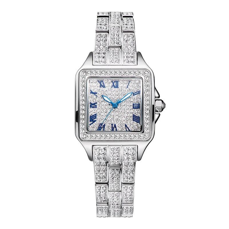 Роман масштаб полный алмазов часы женские Водонепроницаемый кварцевых часов женщина платье часы Лидирующий бренд роскошные дамы Сталь сто