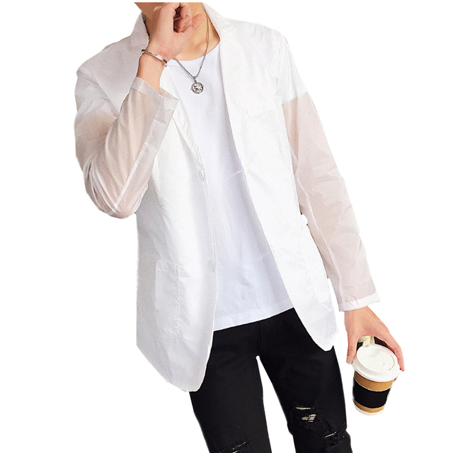 Summer Men's Long Sleeve Thin Suits Jackets, Size S 6XL, Soft Men Sun  Protection Jacket, Slim Fit Man White Blazer Coats-in Blazers from Men's