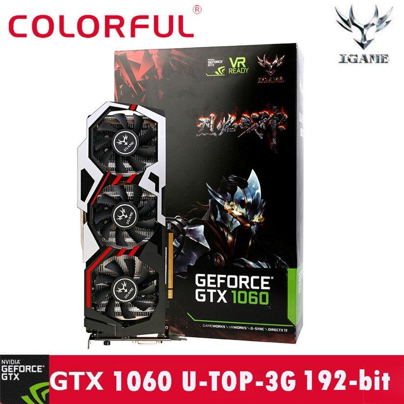 Красочные GTX1060 U-3GD5 TOP1594-1809/8008 мГц 192bit видео игр Графика карты td0330 челнока ...