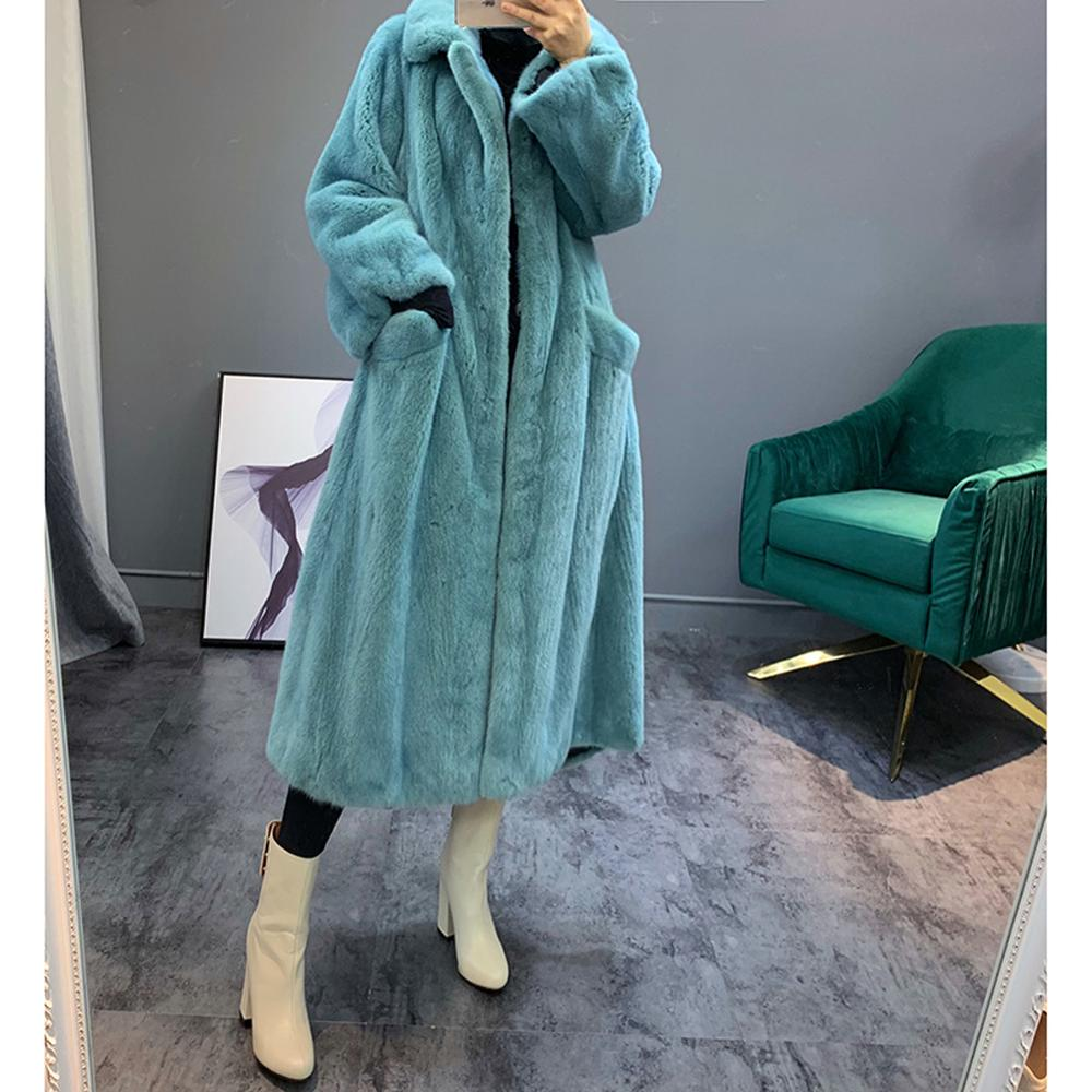 2019 Women's New Real Mink Fur Coat Women's Winter Long Warm Jacket Women's Small Turndown Collar Blue Mink Fur Coat