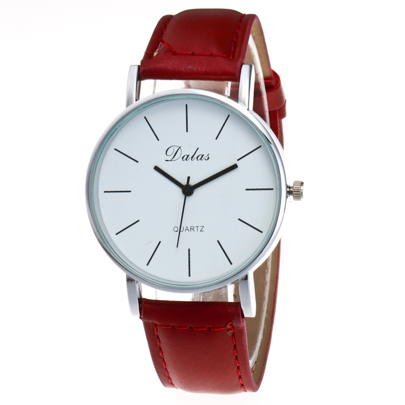 Simple Classic Fashion Vintage Black Red Brown Leather Quartz Wrist Watch Wristwatches for Men Women Students  classic ulzzang brand vintage genuine leather women men lovers quartz wrist watch gift black white brown