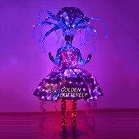 Светодиодный светодио дный Свет Костюмы световой 2017, женская обувь подошва цирк новый костюм светящиеся пляжная одежда юбка костюмы для ба