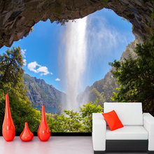 3D Wallpaper Cave Waterfall Natural Landscape