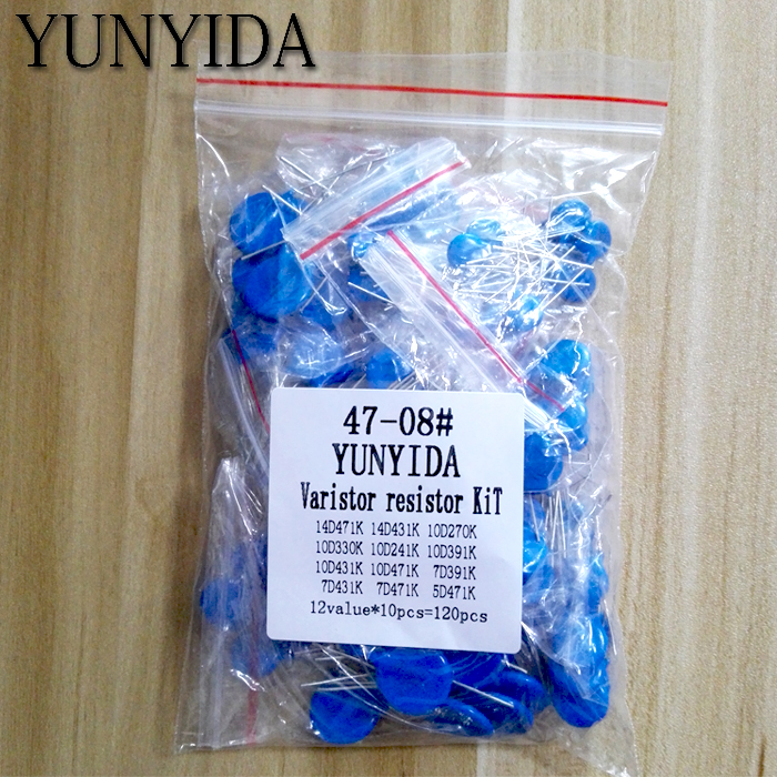 100pcs=12value*10pcs Varistor Resistor Assorted Kit 5D471K 7D471K 7D431K 7D391K 10D471K 10D431K 10D391K 14D471K 14D431K 10D241K