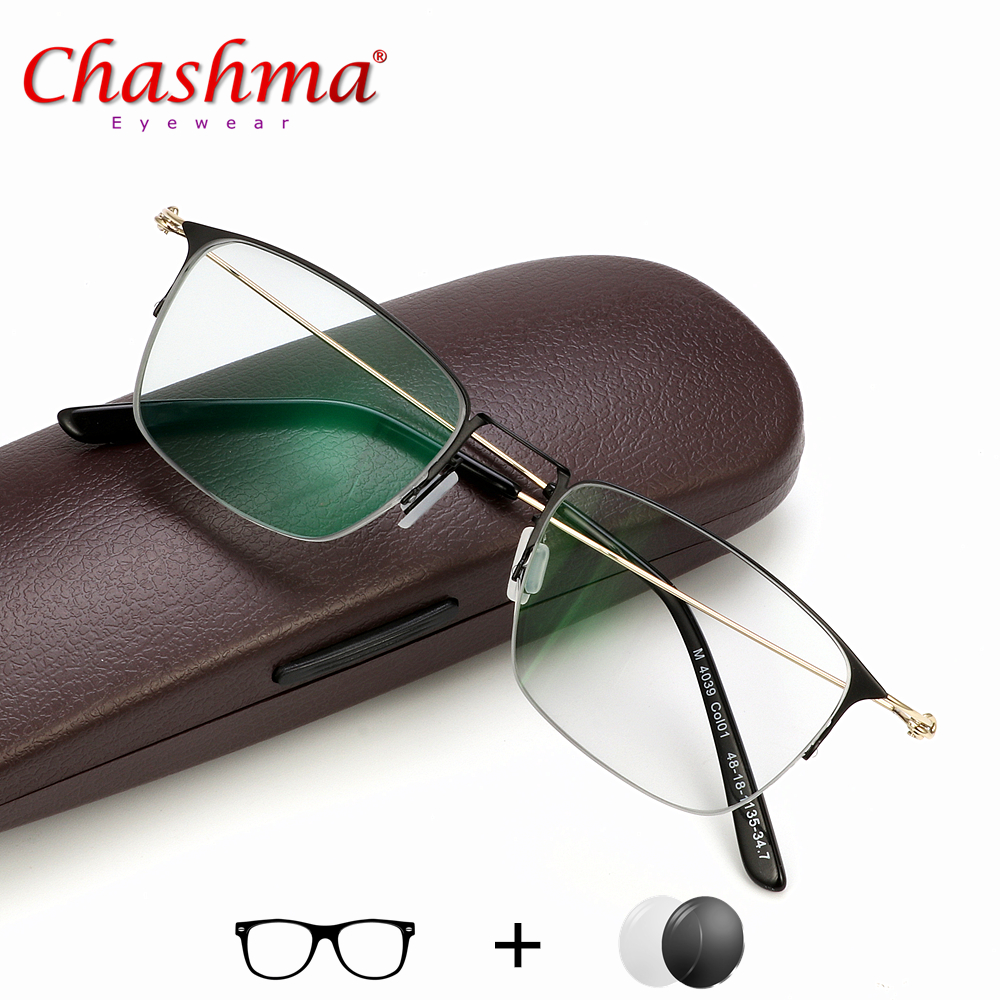 Chashma Titanium Alloy Prescription Glasses Men Ultralight Square Myopia Frame