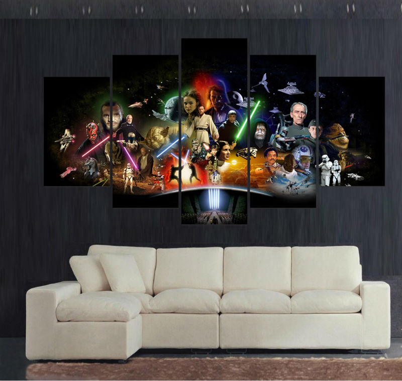 Canvas Print Painting 5 Panel Large HD Printed Art Star