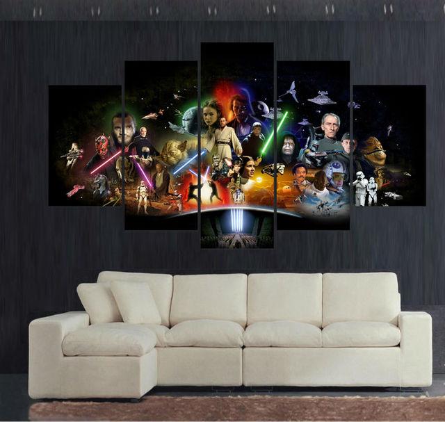 Canvas print painting 5 panel large hd printed art star wars movie modern home decor wall