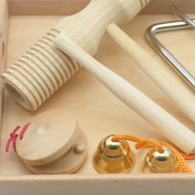 Set of Musical Instruments with Wooden Tray