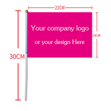 free  shipping  xvggdg  Custom Hand Flag 14 x 21 cm Hand Shaking Flag print buyer's company logo 50 pcs/lot