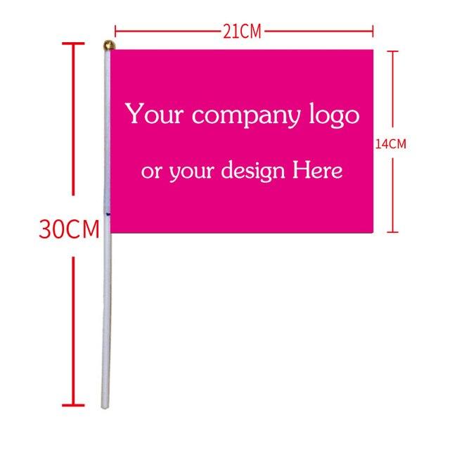 Бесплатная доставка xvggdg пользовательский флаг руки 14x21 см дрожание рук флаг печати логотип компании покупателя 50 шт./лот