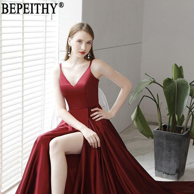 BEPEITHY Vestido De Festa New Design Sexy Slit Formal Dress Burgundy V Neck Long Evening Dresses Reflective Dress 2019 4