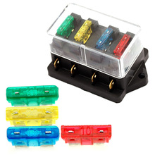 Automobile 12V 24V 4Way Car Truck Auto Blade Fuse Box Holder +4pc Fuse Circuit Standard ATO 4pcs abs fuse automobile car fuse fetch clip timeproof extractor puller tool