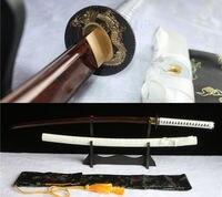 40.6HANDMADE DAMASCUS RED FOLDED STEEL JAPANESE SAMURAI KATANA SWORD FULL TANG.